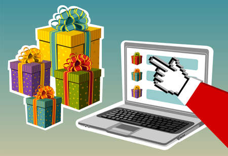 Christmas and e-commerce: Santa Claus e-buying gifts from a notebook. Vector