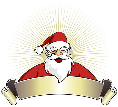 Happy Santa Claus with blank banner on golden striped background. Vector illustration Vector