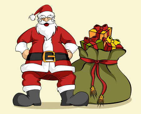 Happy Santa Claus laughing with hands on hips with a large Christmas gifts bag. Clear background. Vector