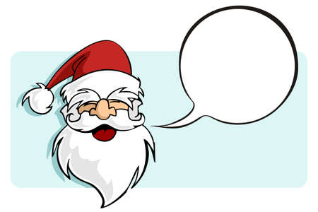 Happy face of Santa with a blank comic balloon. Usable for Christmas greeting card. Vector illustration