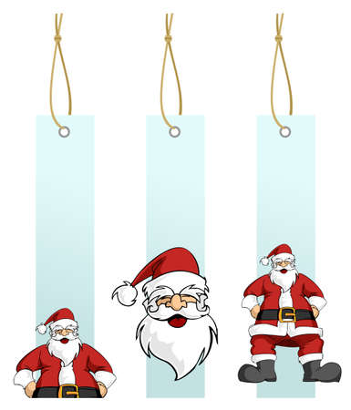 Happy Santa Claus in different light blue hanging tags. White background. Vector illustration Vector