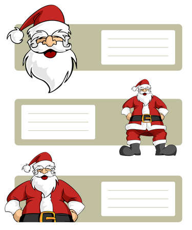 Happy Santa Claus planes variations with blank striped labels to write. White background. Vector illustration Vector