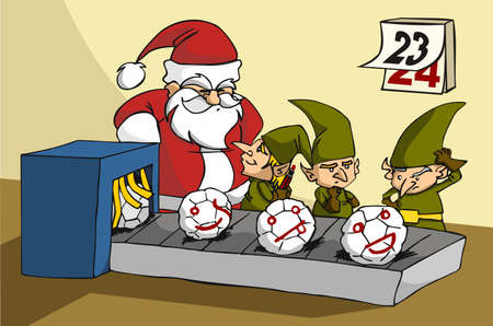 joking: Christmas toy factory: three elves been surprised while joking at job by Santa