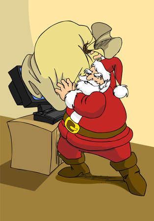 Xmas e-commerce series: Santa Claus trying to use modern internet technology to send the gifts.  Vector