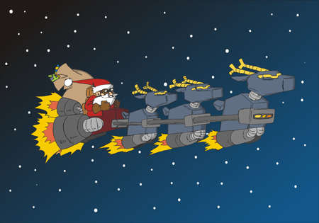 sled: Santa Claus in his futuristic deer sled. Usable as xmas greeting card