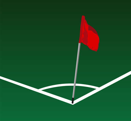 Soccer field corner with flying red flag Vector