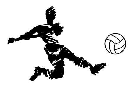 shooting soccer player hand drawn silhouette over white. Vector