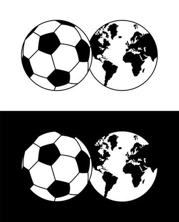 Globe soccer ball composition in black and white Vector