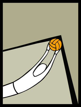 Soccer goalkeeper catching a ball shot in the angle of arc. Light brown background. Vector