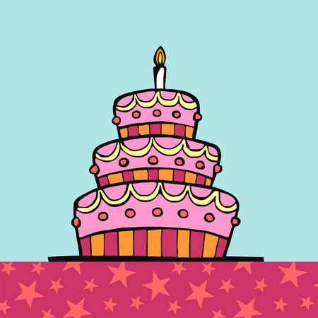 Birthday cake on table with pink tablecloth with stars on light blue background  Vector