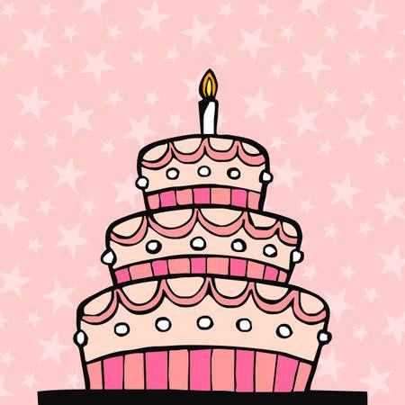porcion de torta: Cumplea�os de Rosa pastel sobre un fondo de color rosado con estrellas