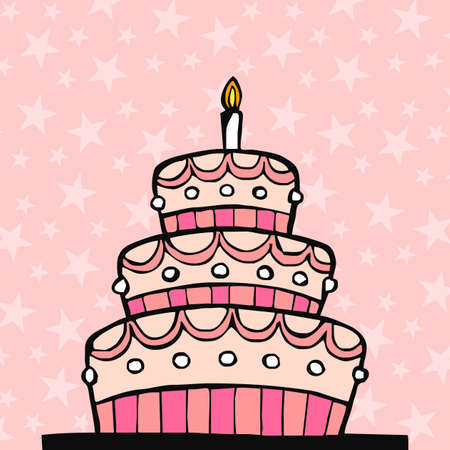 Pink birthday cake on pink background with stars   Vector