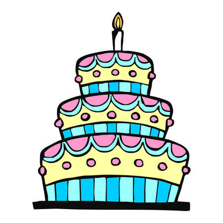 art piece: Colorful birthday cake on white background
