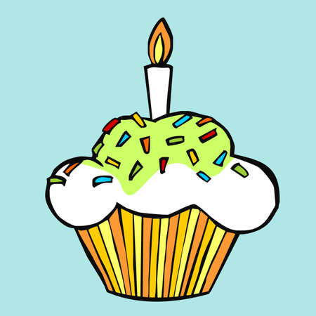 Colorful celebration muffin on light blue background  Vector