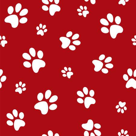 huellas de perro: huellas de perro blanco sobre fondo rojo Vectores