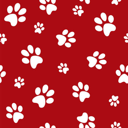white dog footprints on red background Vector