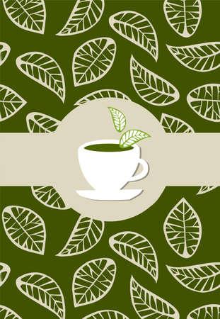 teepflanze: Beige hinterl�sst auf gr�nen Hintergrund mit gr�nem Tee-Etikett auf wei�em Tee-cup