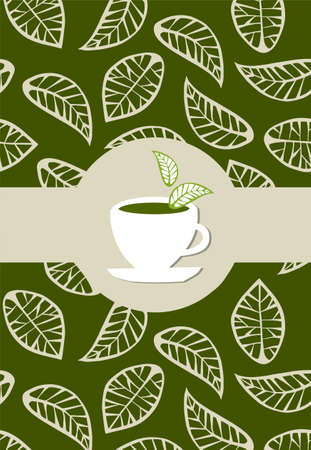 green tea leaves: beige leaves on green background with green tea label  on white tea cup