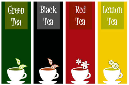 type: different labels for tea types on different color background
