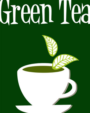 White cup full of green tea and leaves falling down. Green tea legend written as headline over green background. Vector