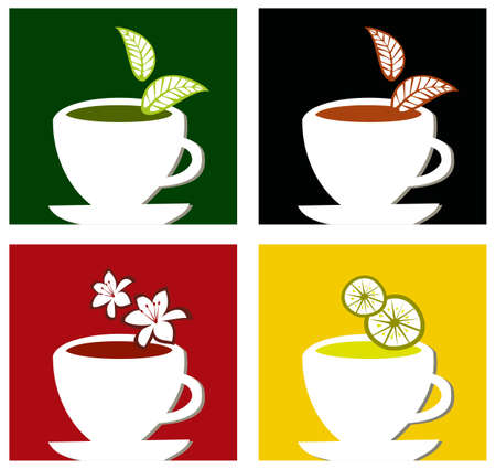 for tea: Four different tea labels on framed composition suitable for teatime menu design.  Illustration
