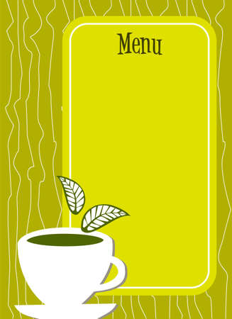 text area: Lemon yellow menu cover with a white cup of tea with leaves on it and empty text area. Illustration