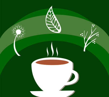 White cup full of tea and leaves with herbs floating around over green background Vector