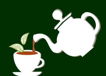 a white teapot serving tea into a white cup over green background