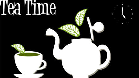 corner clock: White teapot and cup over black background. Clock marking five oclock and the legend teatime at top left corner. Illustration