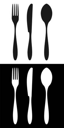 spoon and fork: Cutlery icons. Fork, knife and spoon silhouettes signs on different backgrounds.