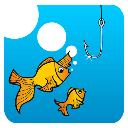 Father fish teaching his small son not to bite the hook. Vector