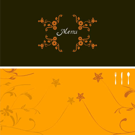 illustration on green and yellow background for food industry, menu, cover, with  flowering ornate Vector
