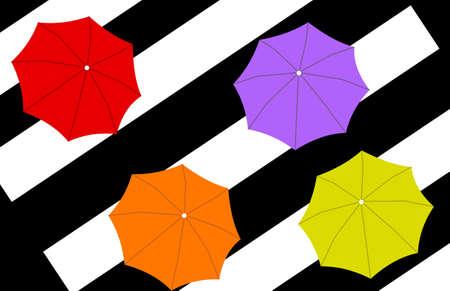 vista desde arriba: ver desde arriba de cuatro paraguas de diferentes colores en parte diagonal