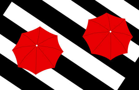 crosswalk: view from above of two red umbrellas on diagonal crosswalk