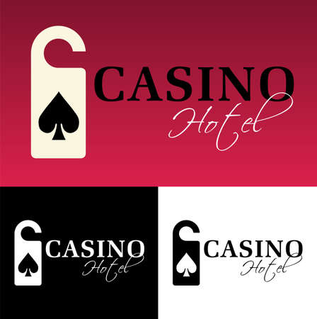 ace of diamonds: Hotel casino logo on black background. available Illustration