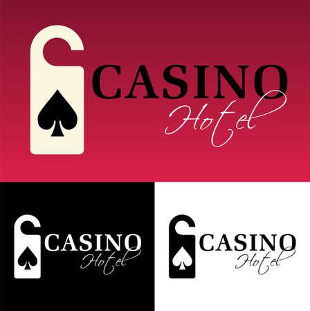 ace of spades: Hotel casino logo on black background. available Illustration