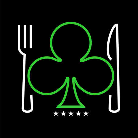 as de picas: Logotipo de restaurante Casino sobre fondo negro. disponible