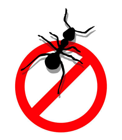 Illustration of forbidden to enter ants.  Vector