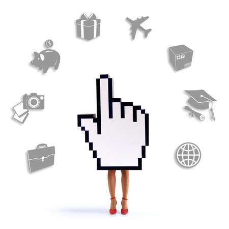 psd: Hand cursor with female legs sorrounded of e-commerce icons. White background. PSD file with paths available.