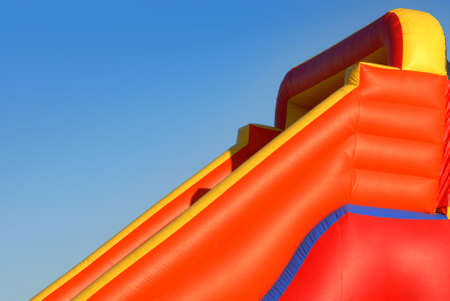 blowup: View colorful inflatable blow-up toy on blue sky background