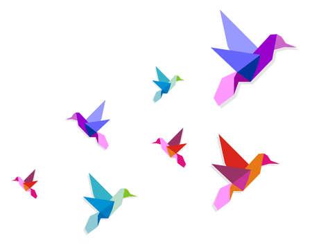 Groep van diverse origami levendige kleuren kolibries.  Vector Illustratie