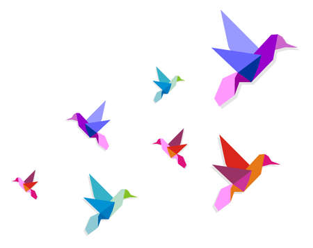 bird icon: Group of various Origami vibrant colors hummingbirds.  Illustration