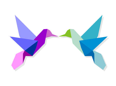 Couple of Origami vibrant colors hummingbird giving a kiss.  Vector