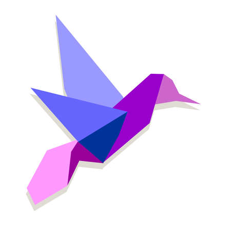 One Origami vibrant colors hummingbird.  Vector