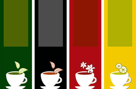 cup four: different labels for tea types on different color background