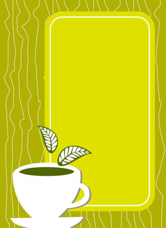 coffe: Lemon yellow menu cover with a white cup of tea with leaves on it and empty text area. Illustration