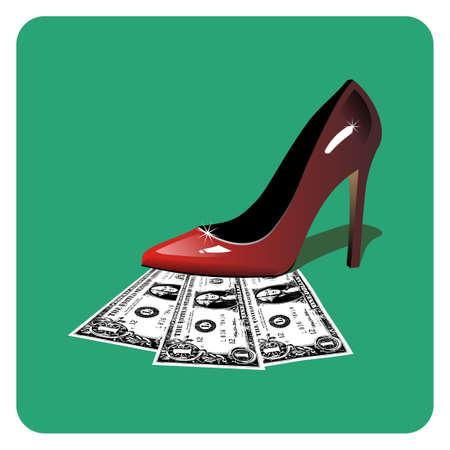 fetish: Dollar bills under a red woman shoe.  Illustration
