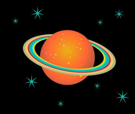 surrounded: Il pianeta Saturno circondata da stelle su sfondo nero.
