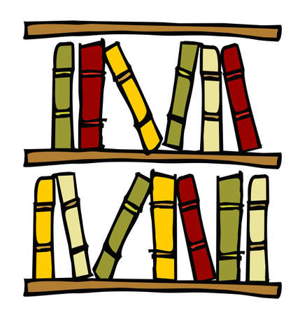 Three hand drawn shelves with books. Stock Vector - 6932883