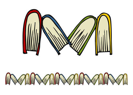 Books following the M letter pattern.  Vector